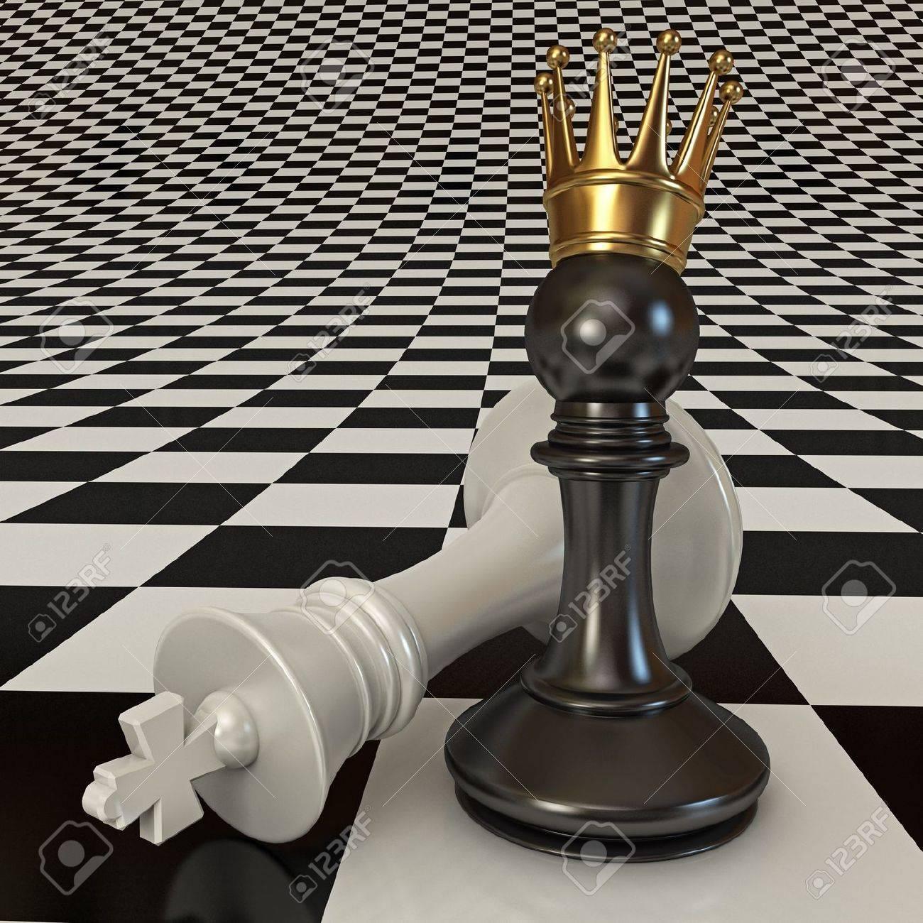 Foto de archivo - Negro hace jaque mate al peón, peón con corona de oro