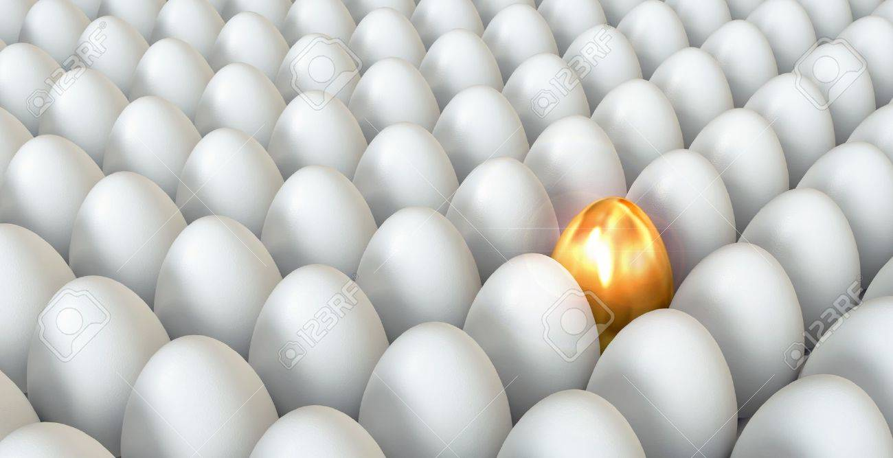 Golden egg standing out from the others, 3d render Stock Photo - 17040631
