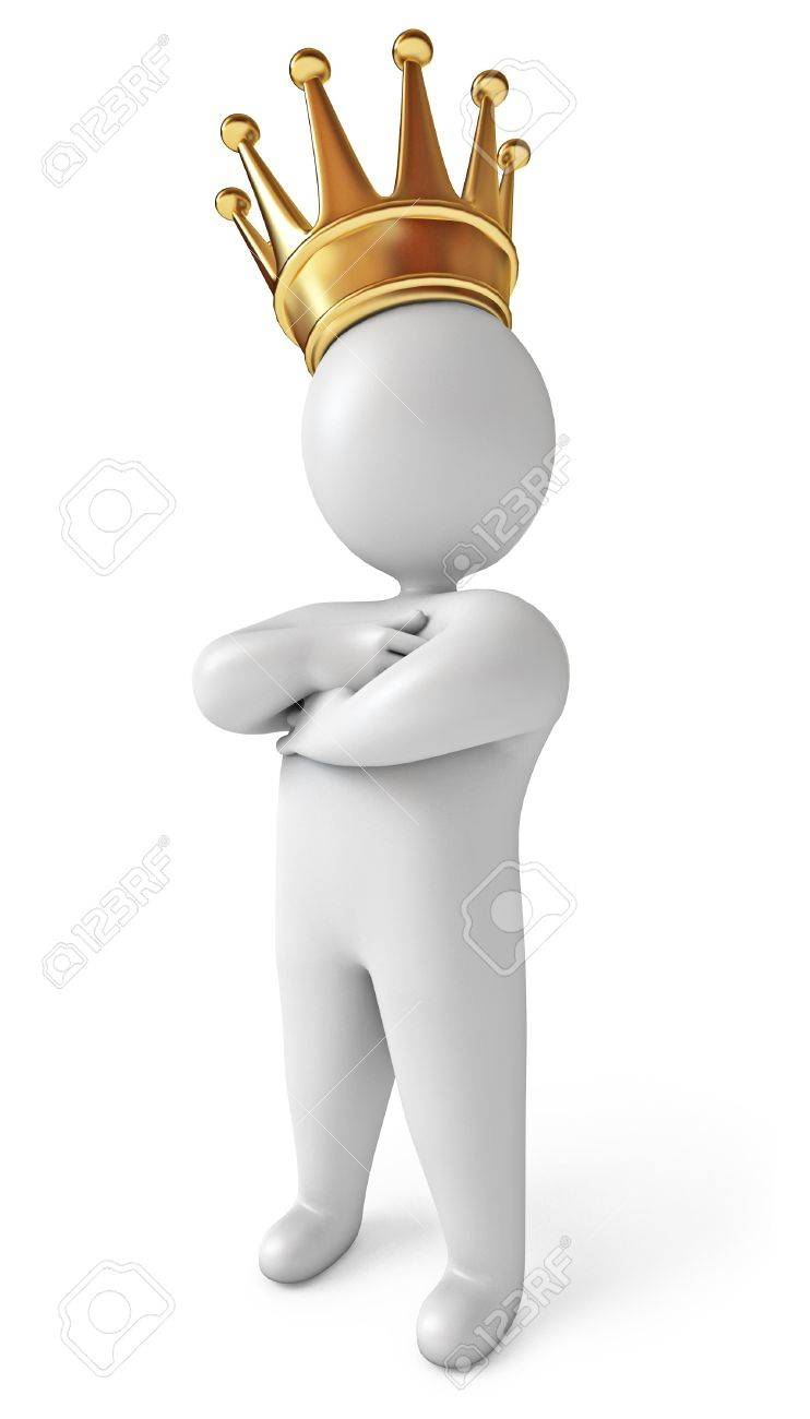 Корона эгоизма 17040668-Man-with-a-crown-on-his-head-White-background-3d-render-Stock-Photo