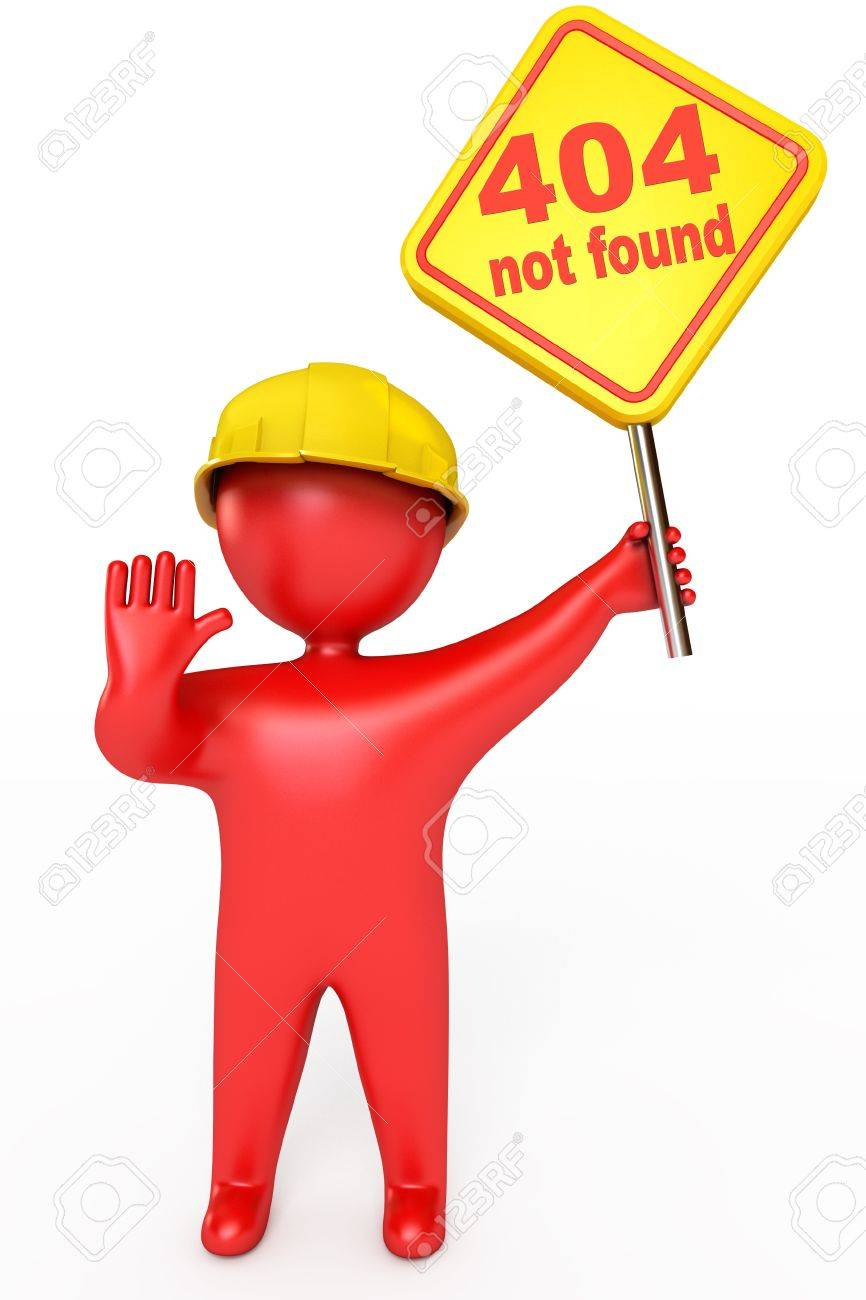 Red puppet man in a helmet holding a plate, Error 404 not found Stock Photo - 17041392