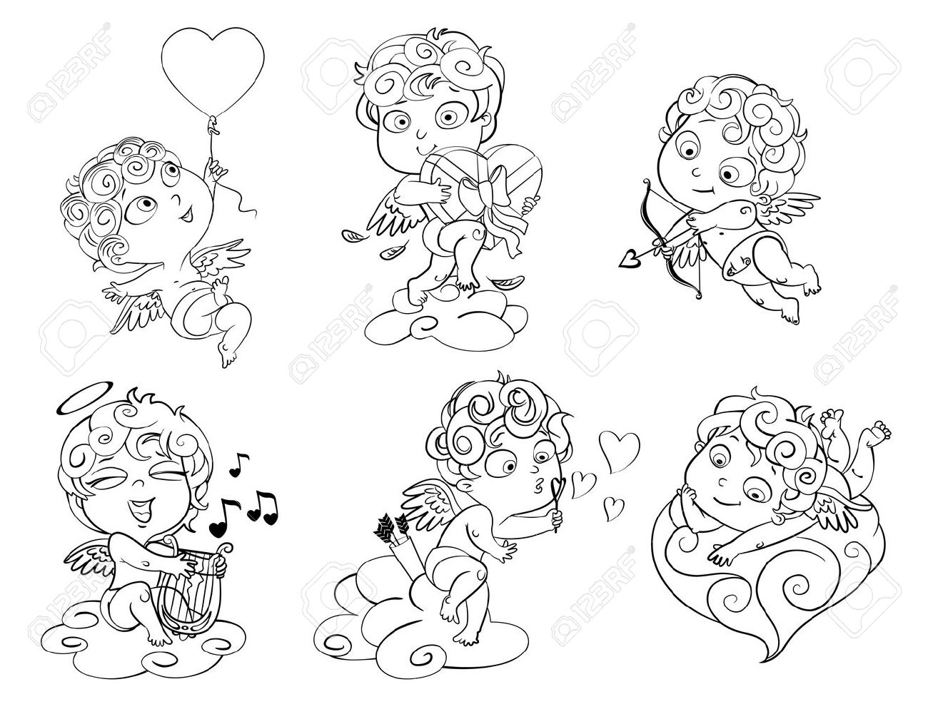 Cupid playing music on the lyre, blow bubbles, Coloring book Stock Vector - 17324751