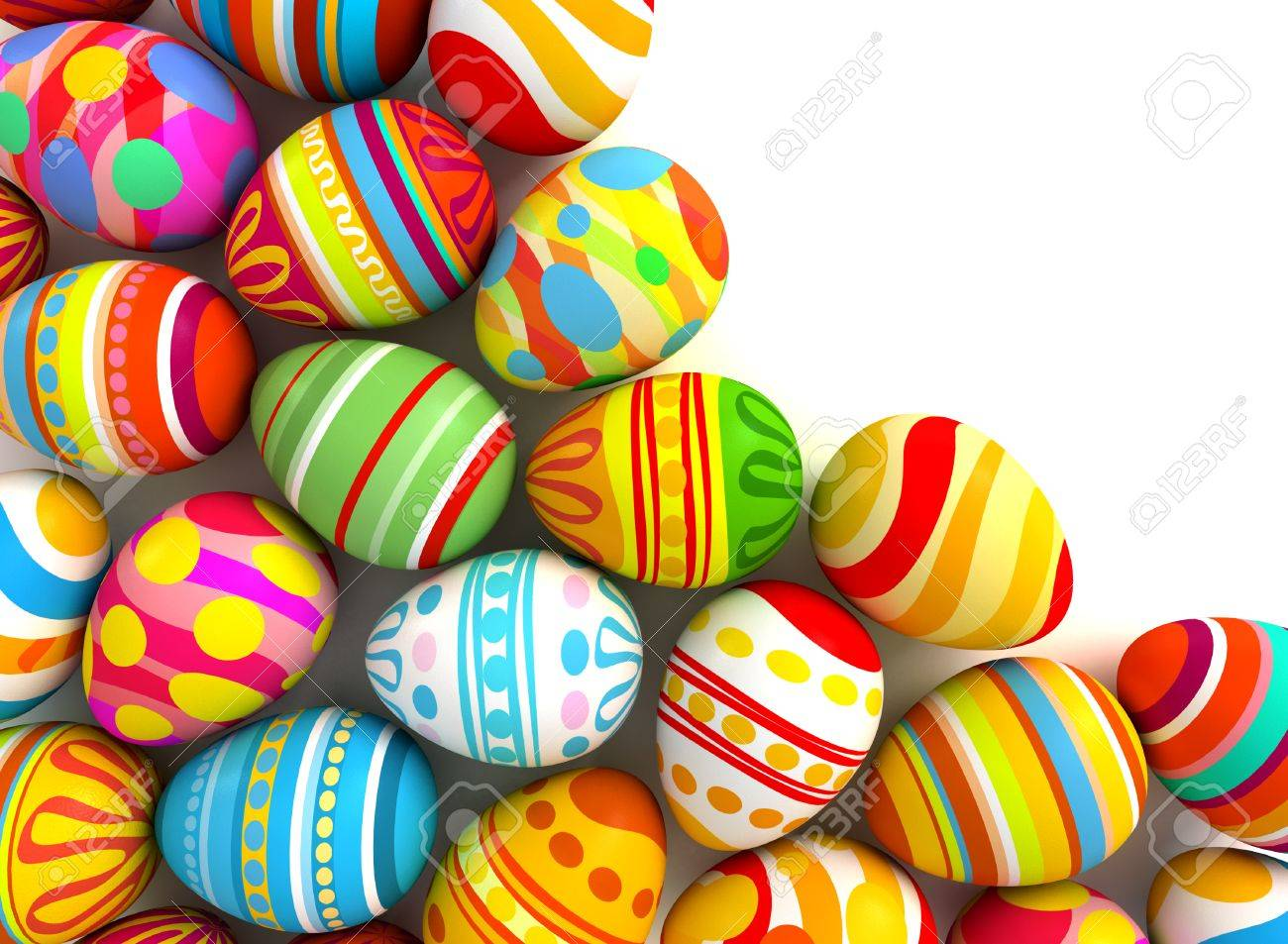 happy easter easter eggs with space for text or image conceptual