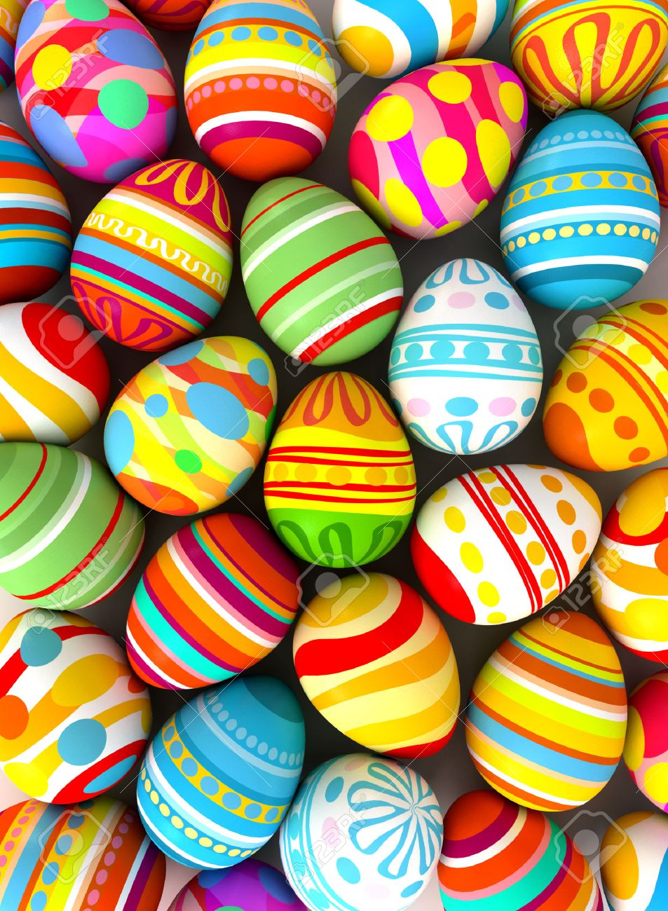 happy easter background with painted eggs conceptual