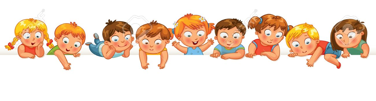Cute Little Kids Over A White Background Show Blank Poster For Your Text Entry