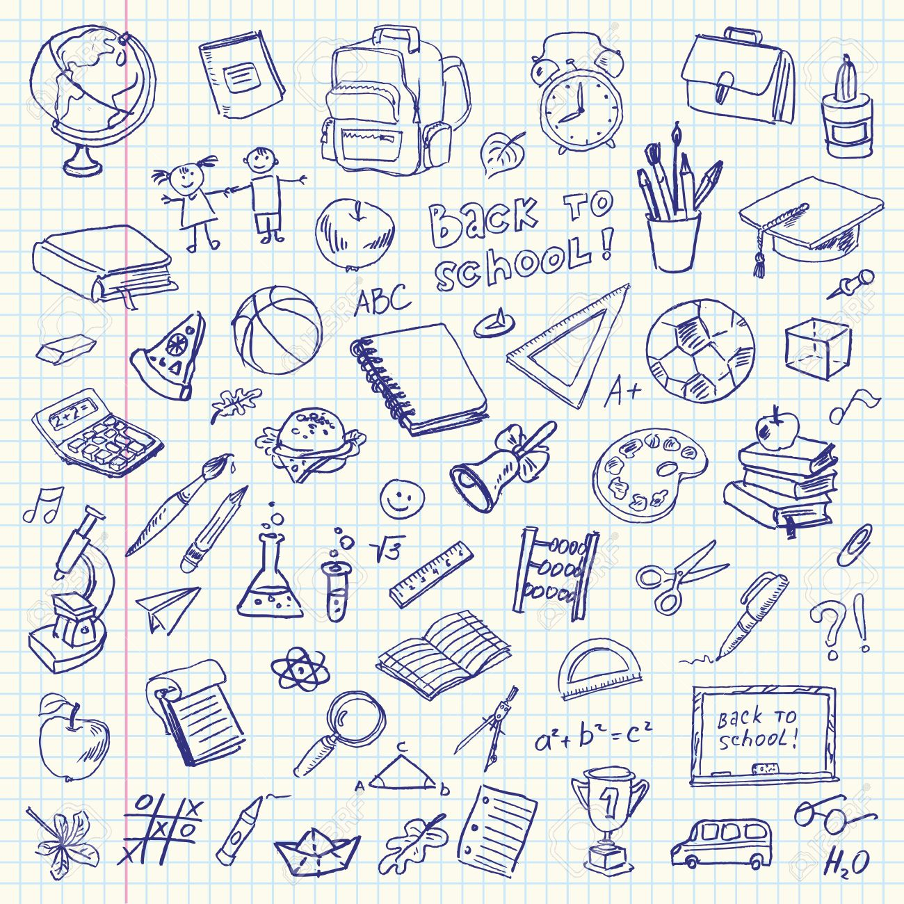 Back to school design background with primary subject matter school - Education Freehand Drawing School Items On A Sheet Of Exercise Book Back To School Vector