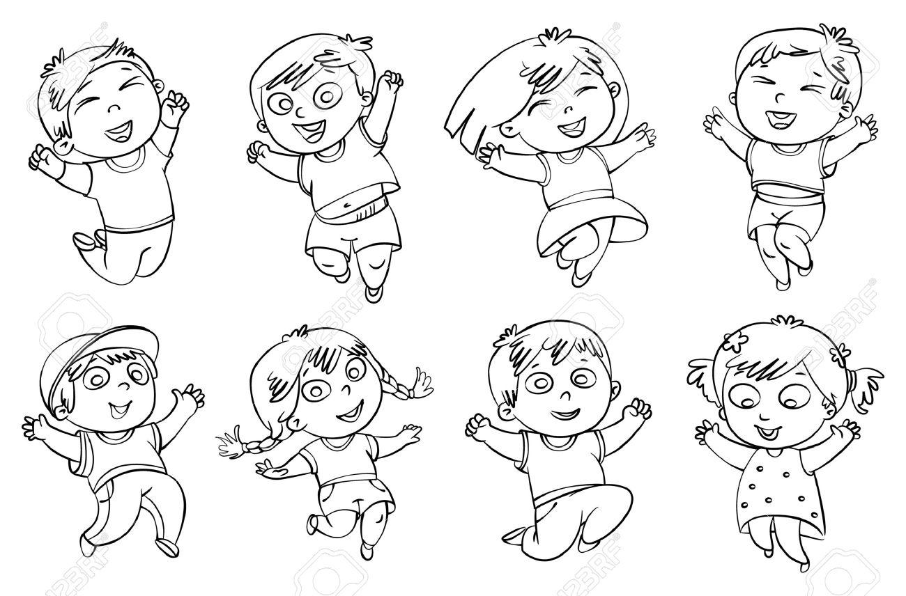Los Niños Saltan De Alegría Libro Para Colorear Ilustración Del Vector Aislado En El Fondo Blanco Conjunto