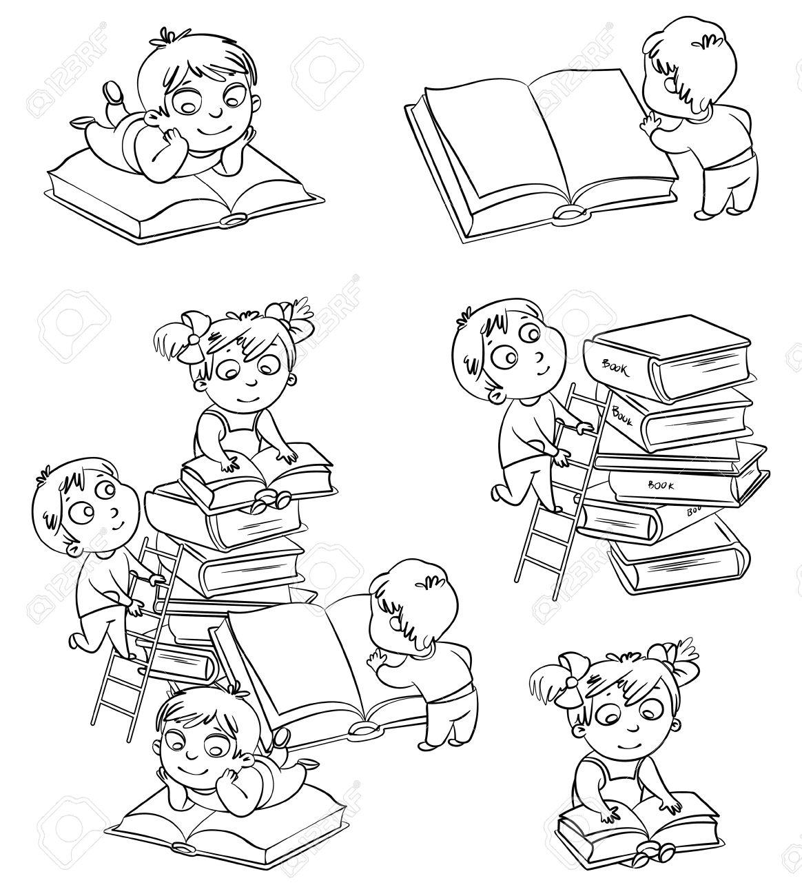 Los Niños La Lectura De Libros En La Biblioteca Libro Para Colorear Ilustración Del Vector Aislado En El Fondo Blanco