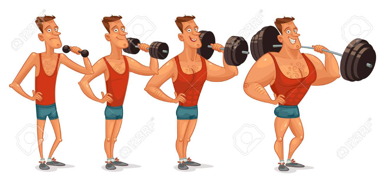 Muscle Building From A Weakling To Steep Pitching Stock Vector