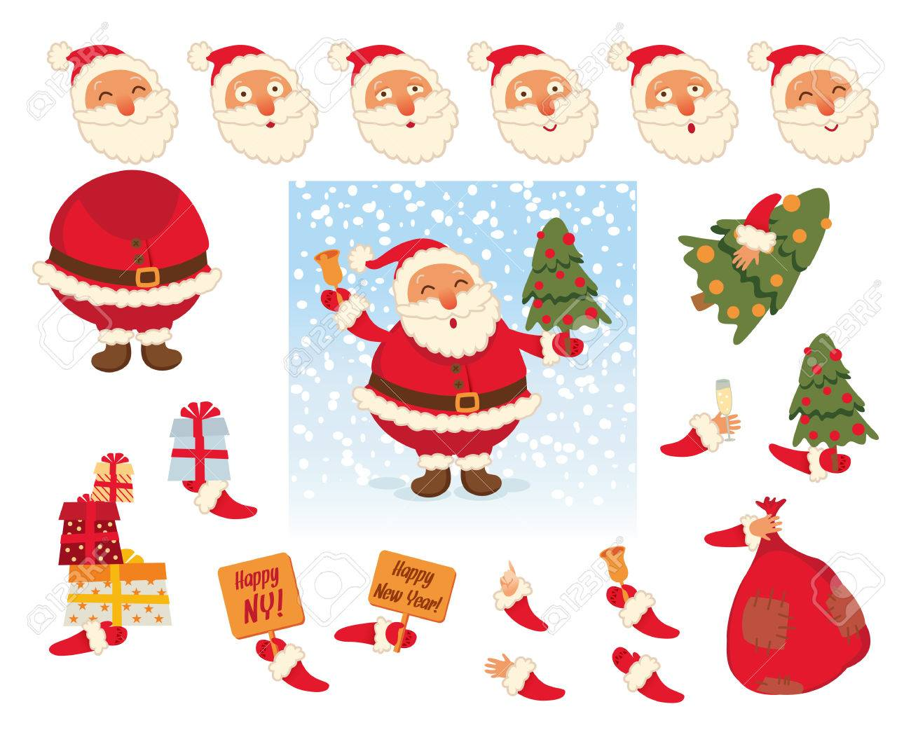 Santa Claus And Parts Of Body Template For Design Work And Animation ...