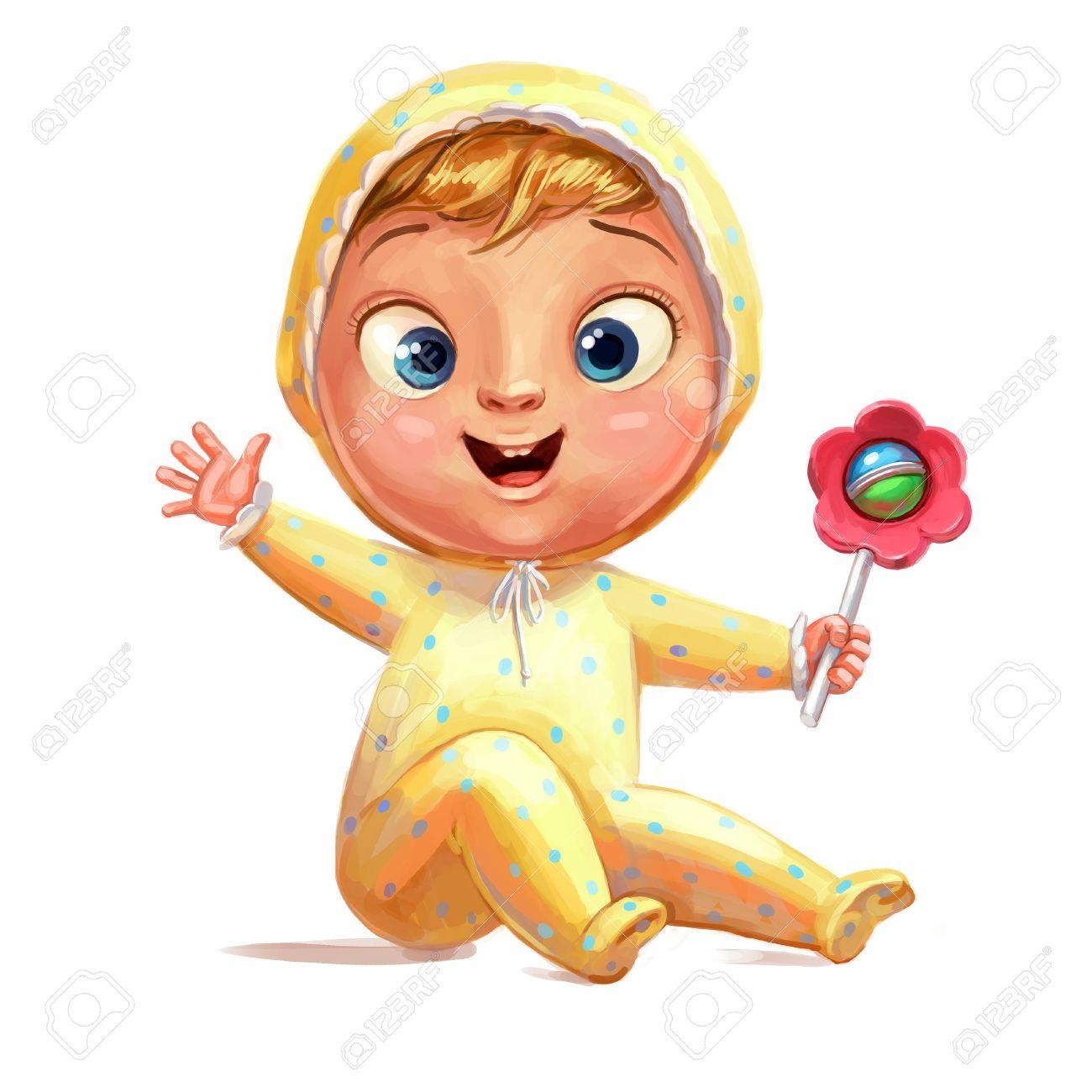 Bébé Drôle Avec Un Hochet Félicitations Pour La Naissance D Un Enfant Personnage De Dessin Animé Drôle Isolé Sur Fond Blanc