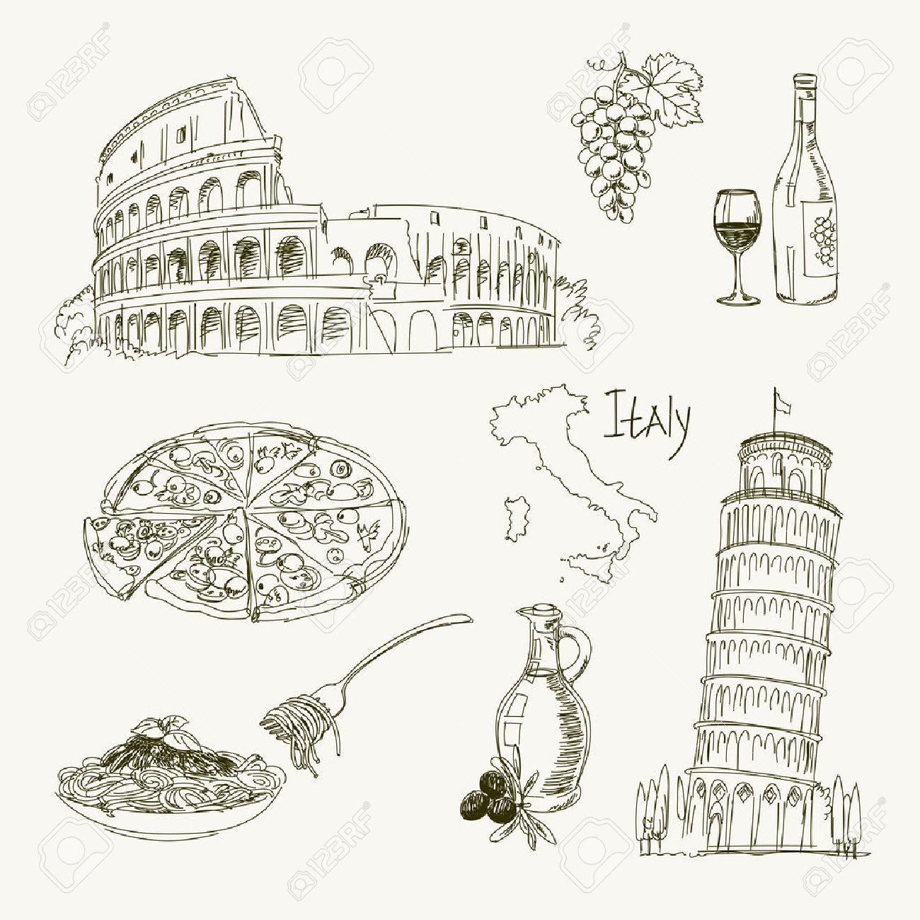 Dessin Avec La Main dessin à main levée italie objets sur une feuille de cahier d'exercices. la  tour penchée de pise. colisée. vector illustration. isolé sur fond blanc