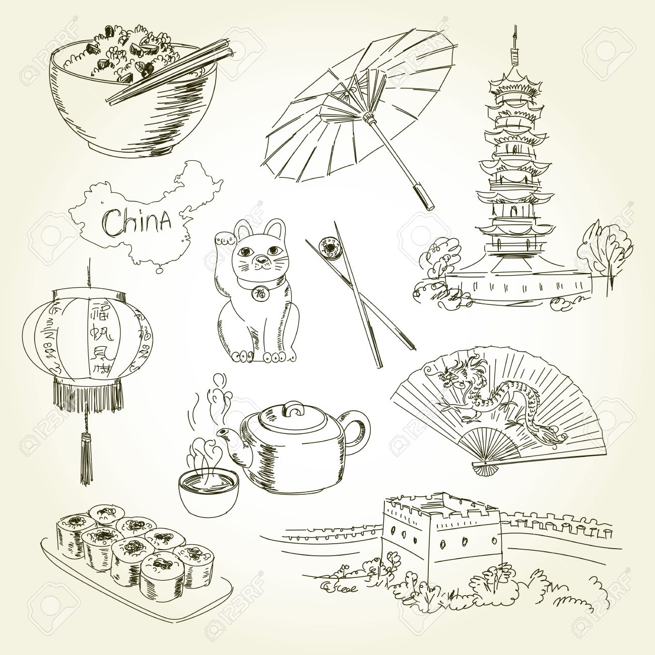Coloring sheet great wall of china - Freehand Drawing China Items On A Sheet Of Exercise Book Longhua Temple China Tours