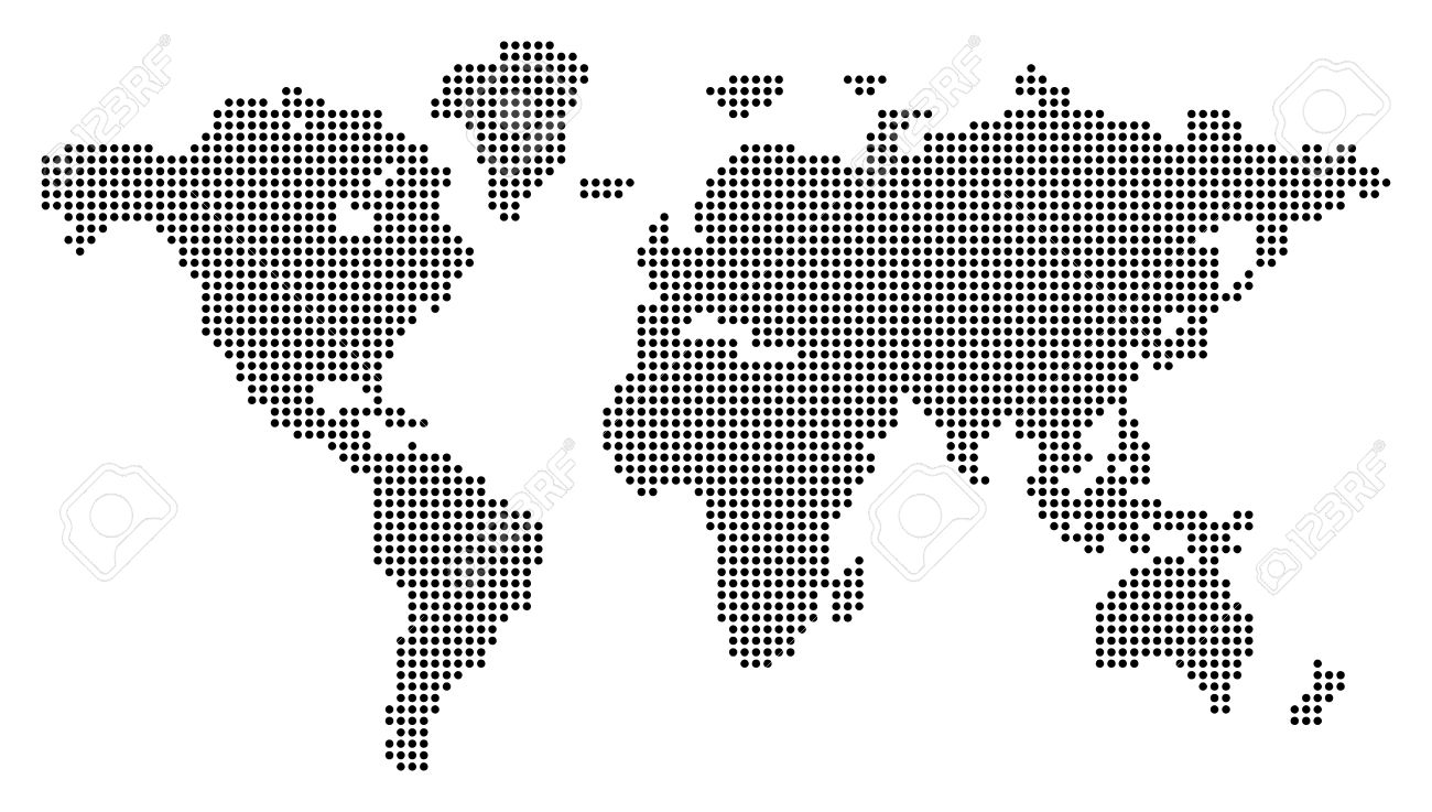dotted world map vector illustration conceptual illustration isolated onwhite background stock vector. dotted world map vector illustration conceptual illustration