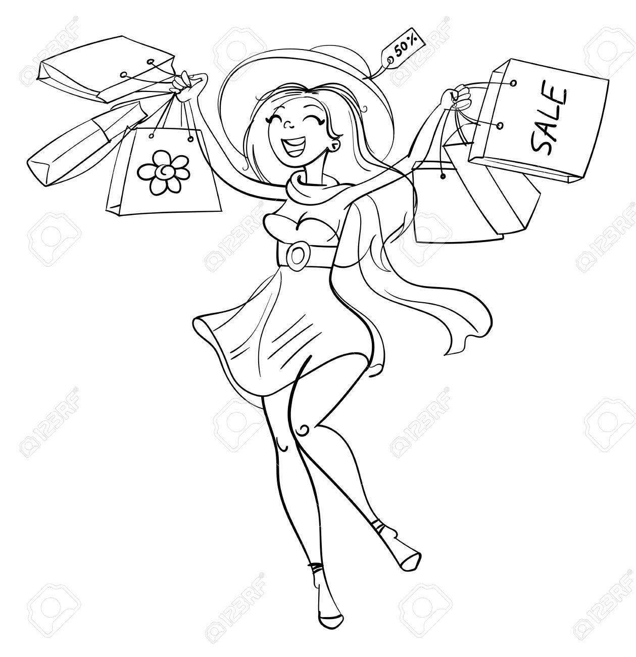 ショップで買い物袋を持つ幸せな女の子買い物客販売面白い漫画の