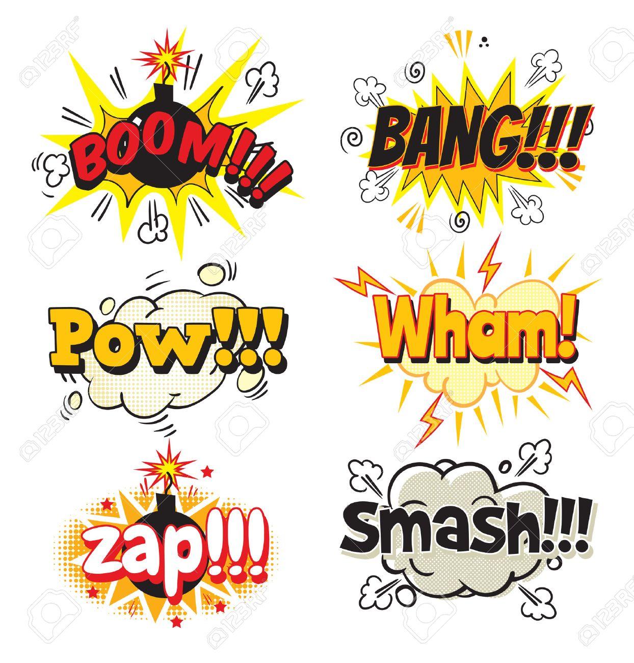 boom bang pow wham zap smash bubble template for comics