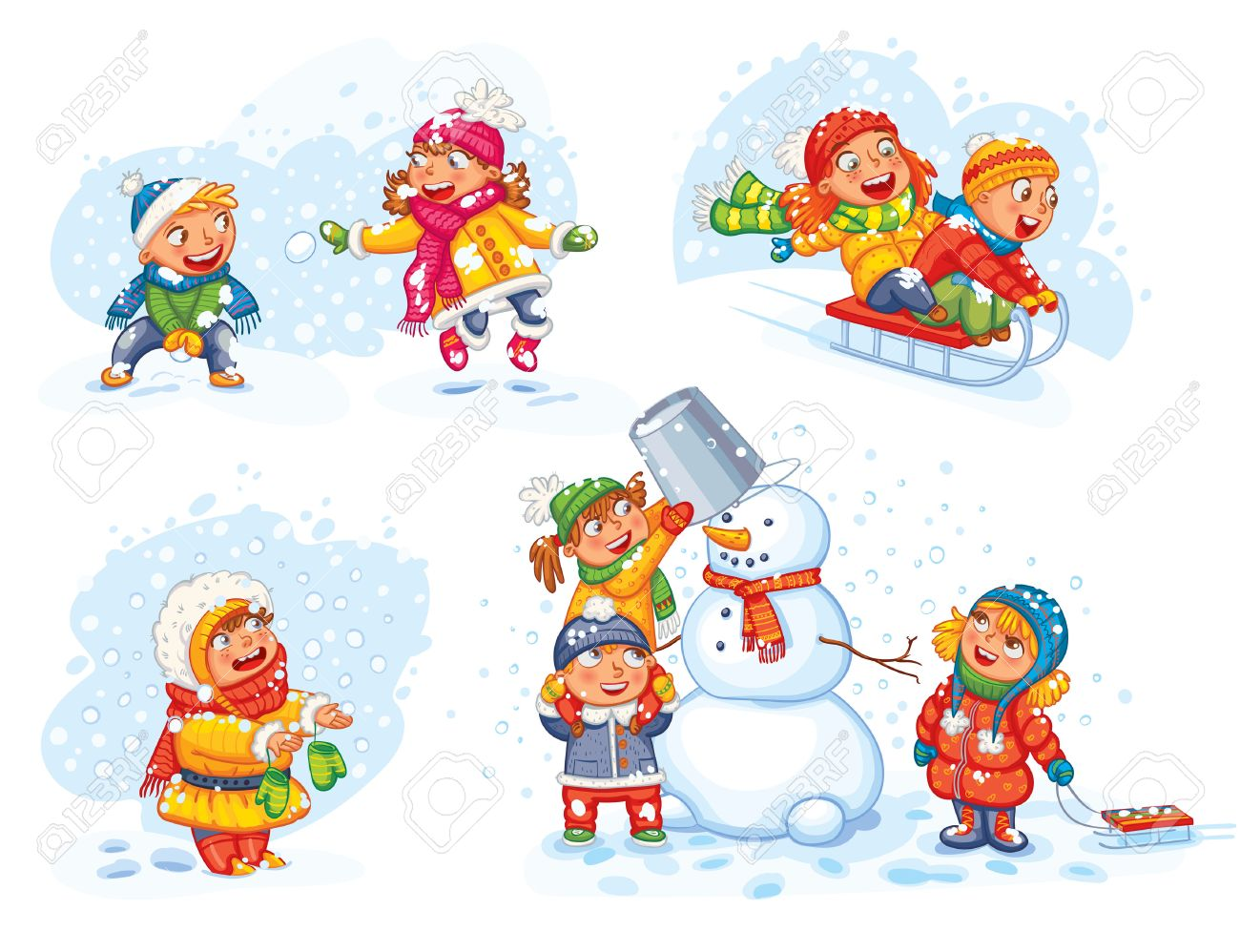 Playing outdoor. Children sledding. Boy and girl playing in snowballs. Schoolchildren making the snowman. Girl trying to catch snowflakes with her tongue. Funny cartoon character. Vector illustration. - 50123143