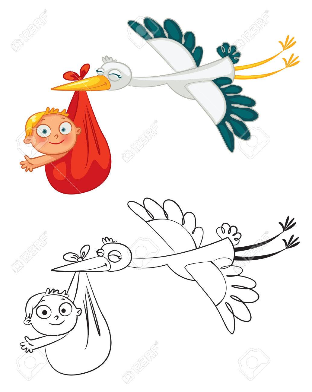 Stork carrying a cute baby. Funny cartoon character. Coloring book. Vector illustration. Isolated on white background. Set - 50123157