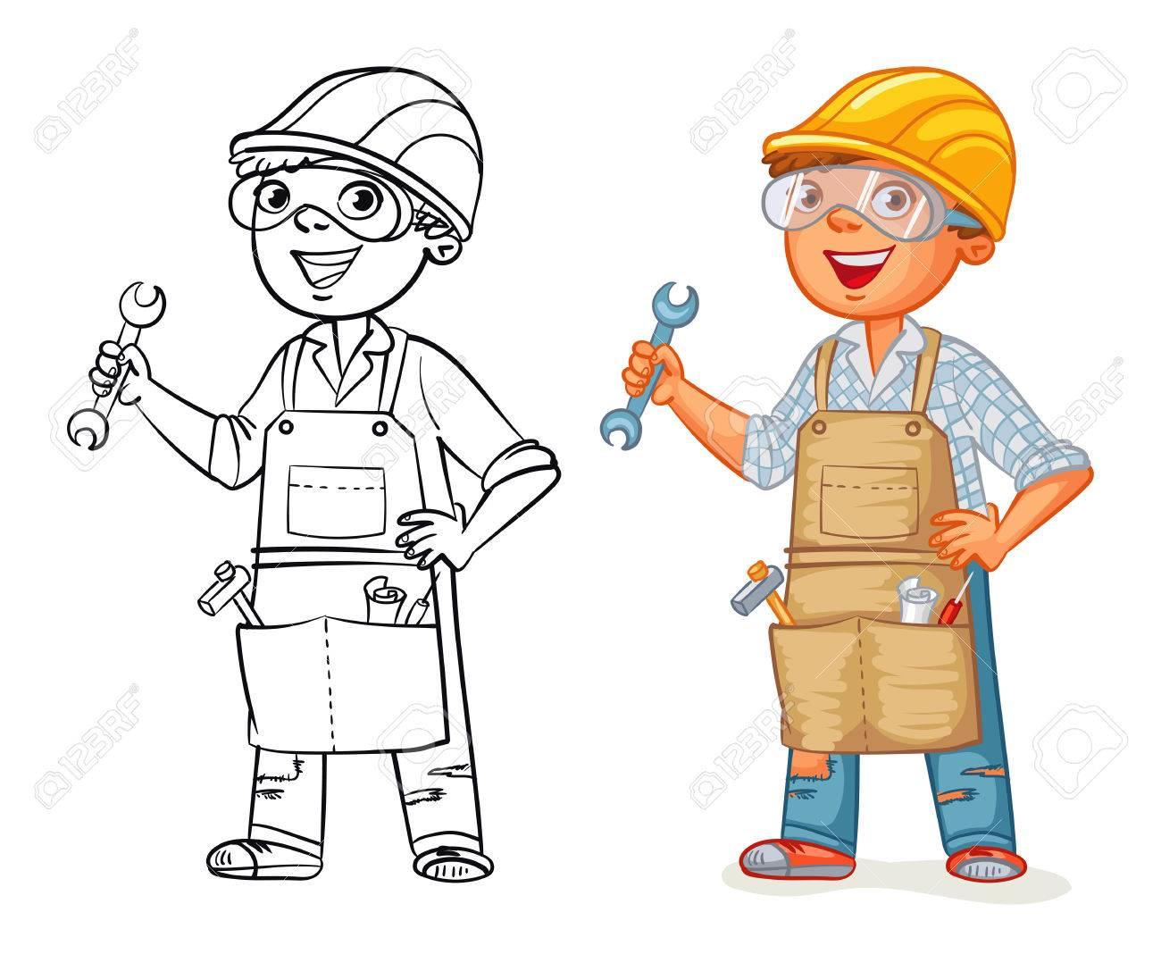 Bauarbeiter In Uniform Mit Einem Schraubenschlussel In Der Hand