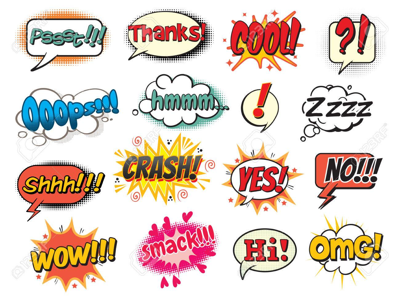 Cool, smack, oops, wow, thanks, yes, no, hi, crash, omg, hmm, psst, shh! Bubble template for comics. Pop art comics style. Vector illustration. Isolated on white background - 50123418