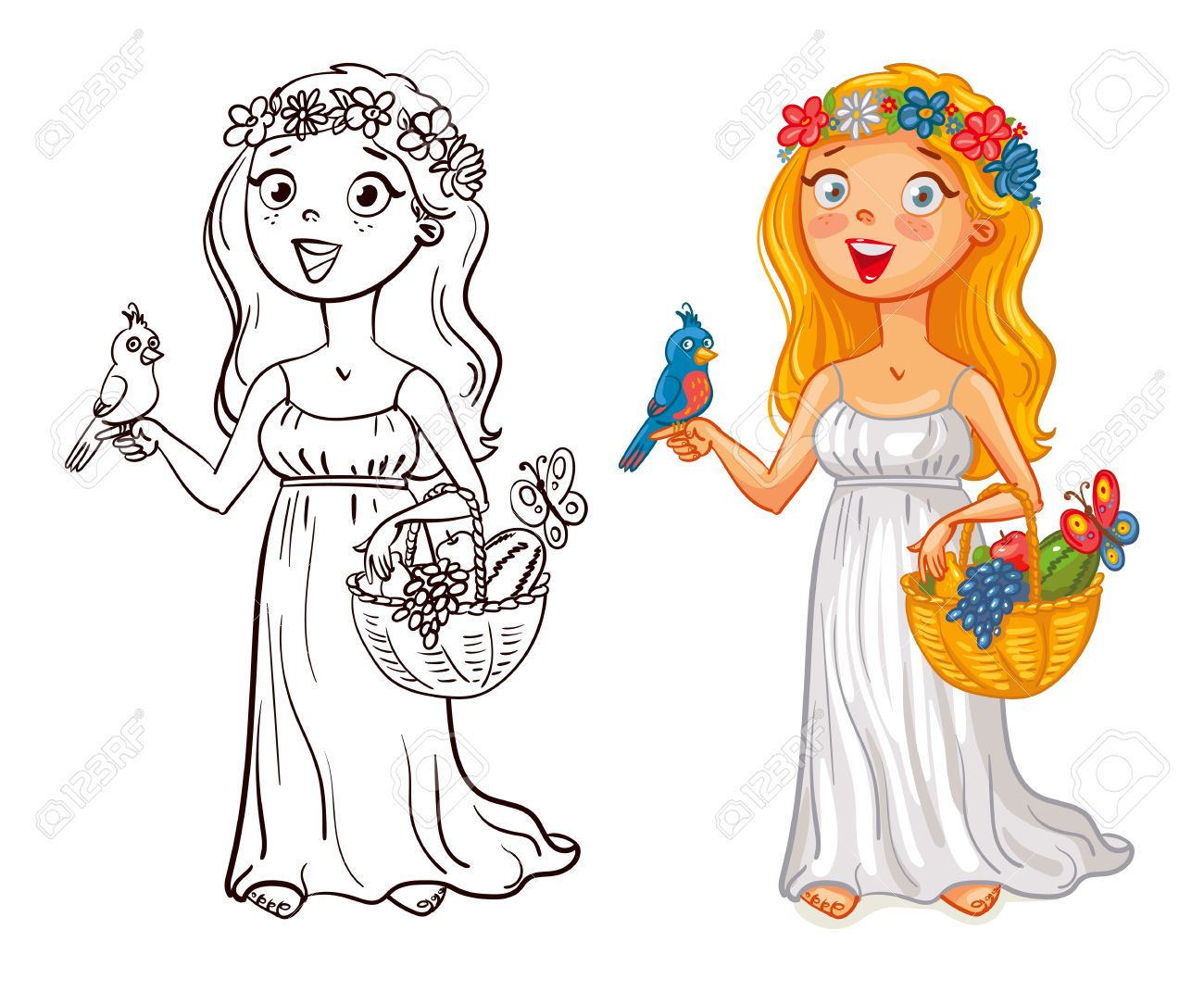 Flora Deidad Niña En Una Corona De Flores Con El Pájaro Y Cesta De Frutas Personaje De Dibujos Animados Divertido Ilustración Del Vector Aislado