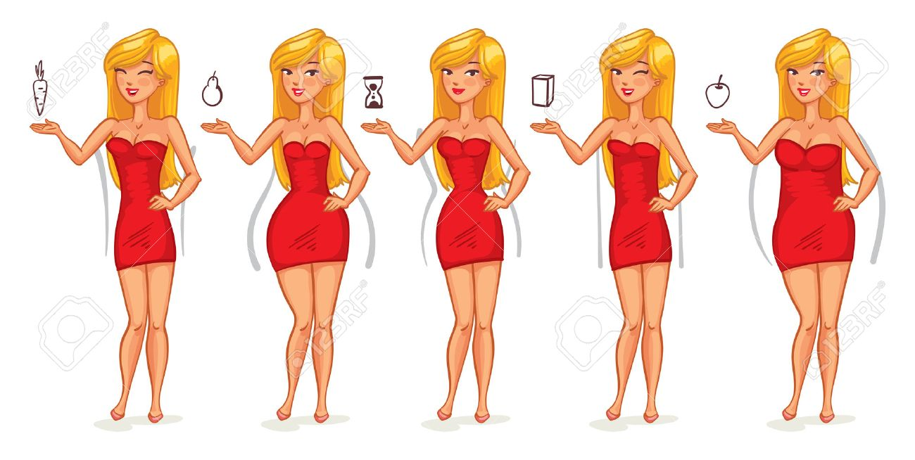 c370d60bc Five types of female figures. Body shapes. Funny cartoon character. Vector  illustration.