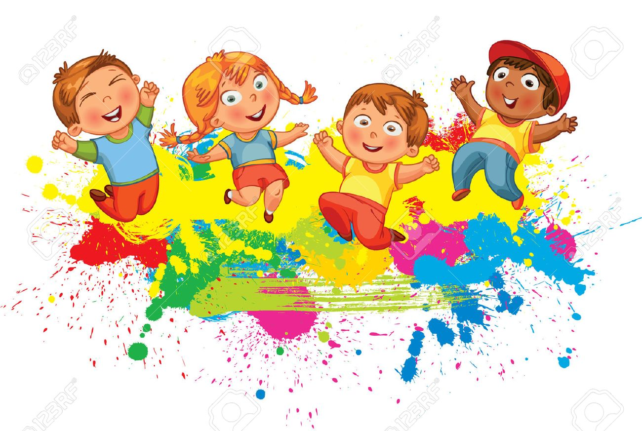 Children jumping on the background color splash. Banner. Funny cartoon character. Vector illustration. Isolated on white background - 50124734