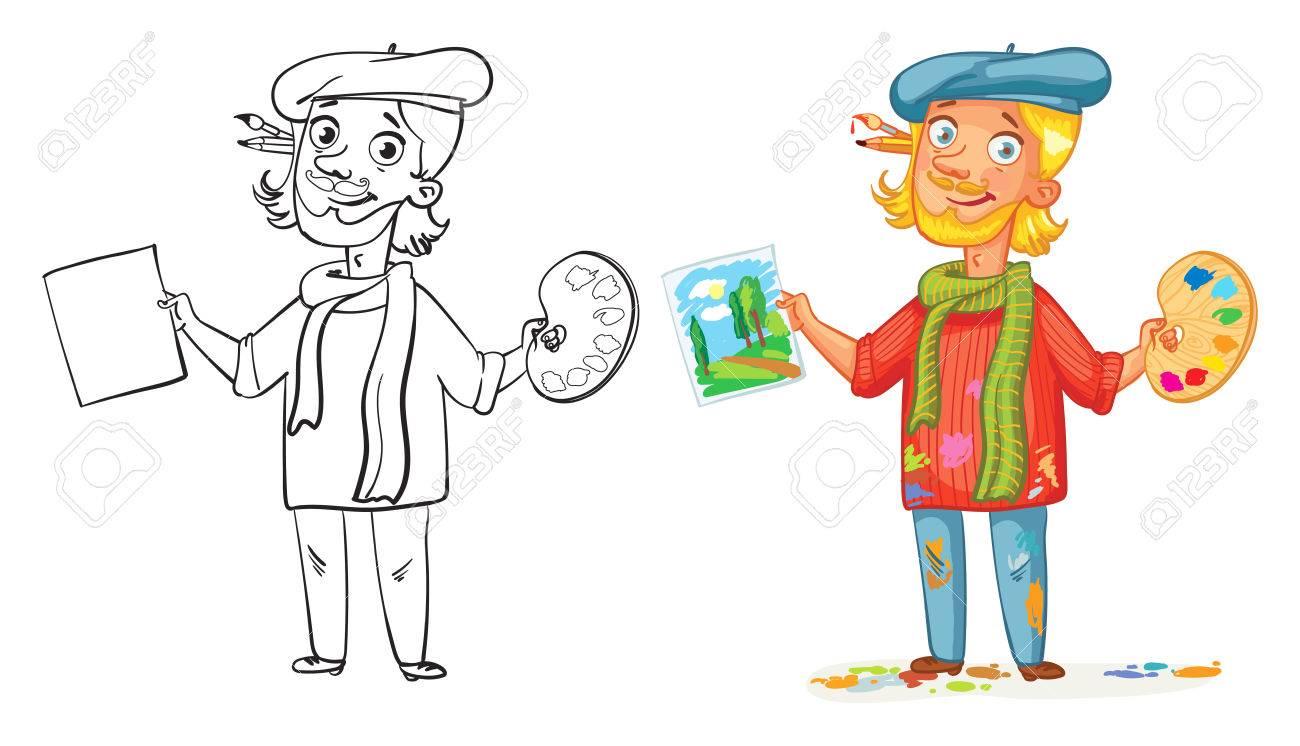 Artiste Avec Une Palette Et Peindre Un Tableau Personnage De Dessin Animé Drôle Vector Illustration Isolé Sur Fond Blanc Livre De Coloriage Image