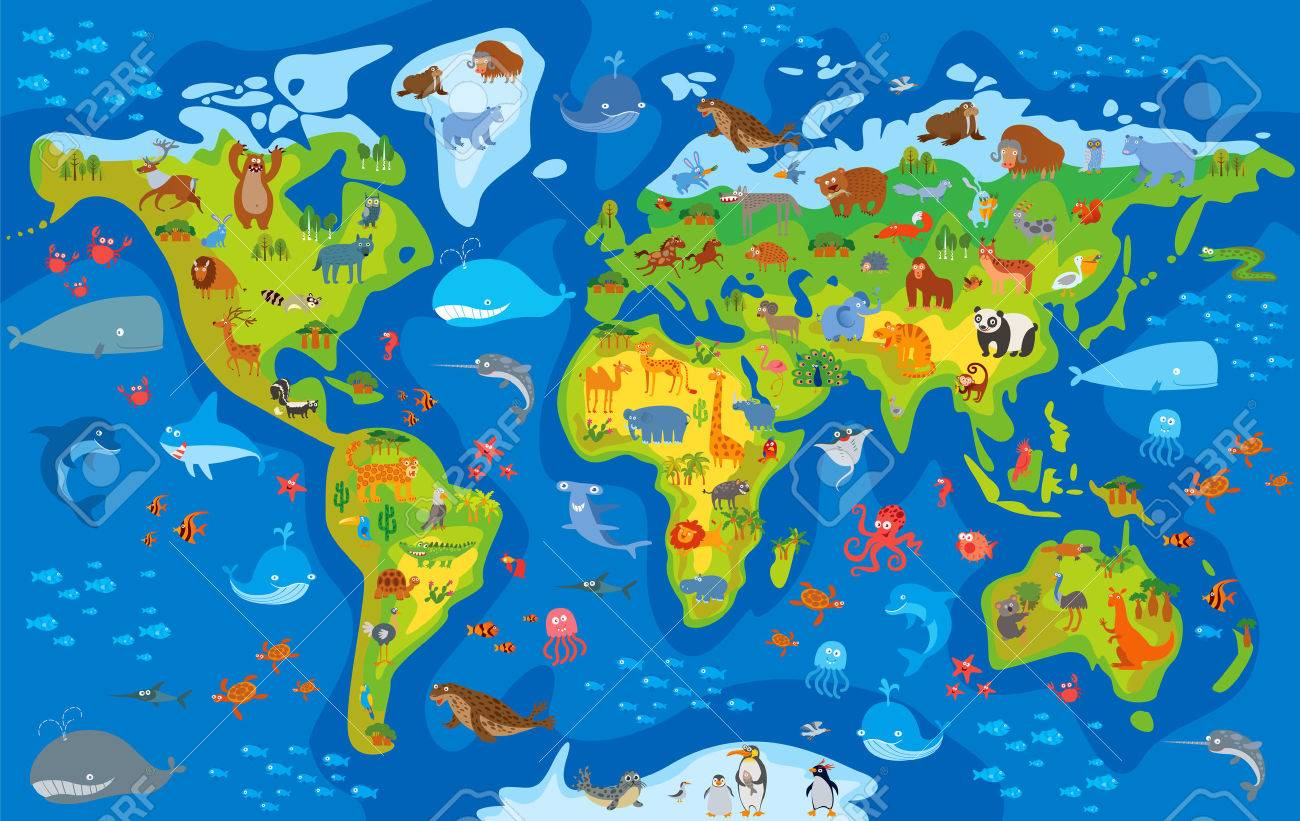 Animal world. Funny cartoon character. Vector illustration - 50124749