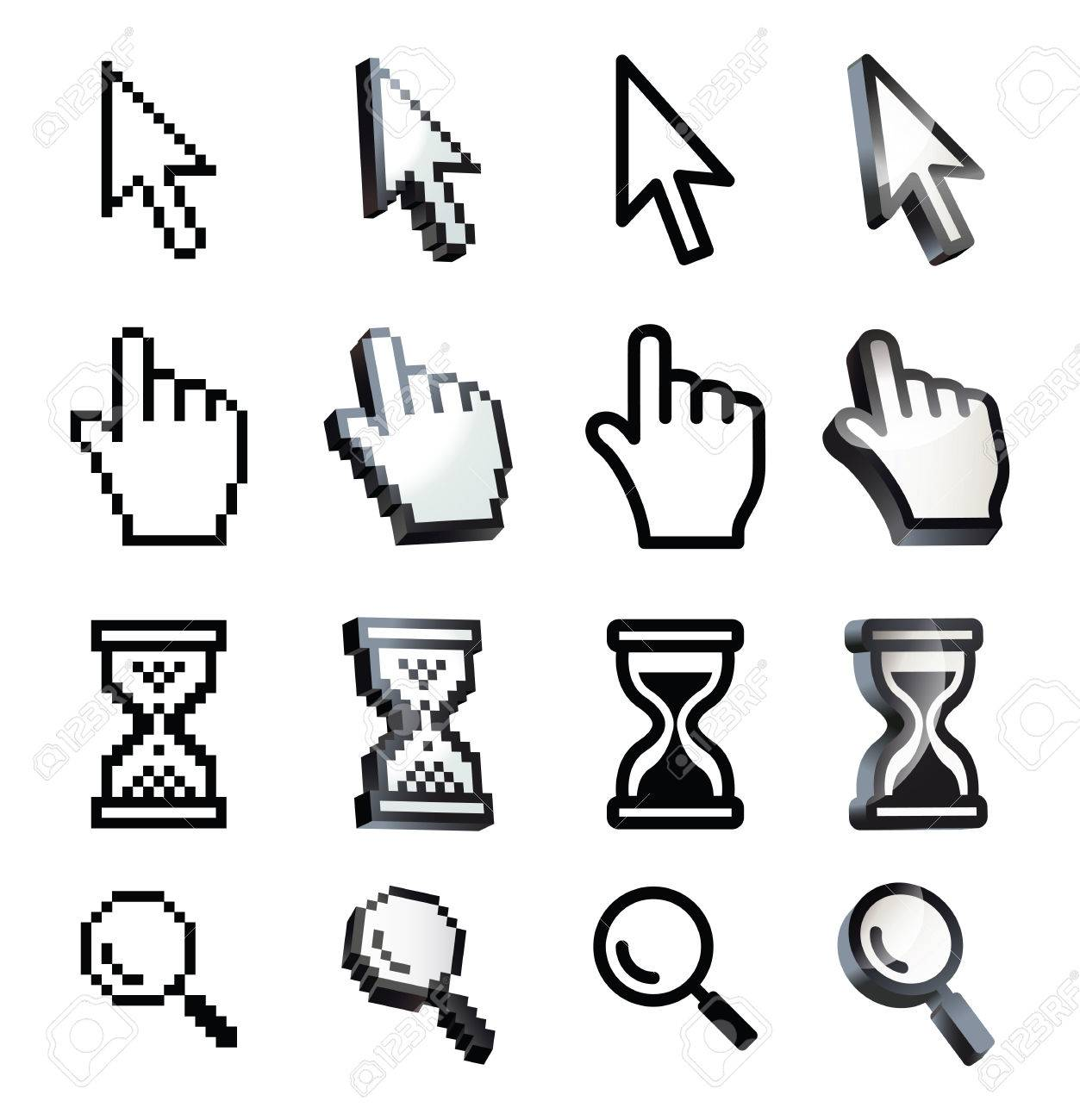 Cursor. Hand, arrow, hourglass, magnifying. Black and white vector illustration. Conceptual illustration. Isolated on white background - 50124886