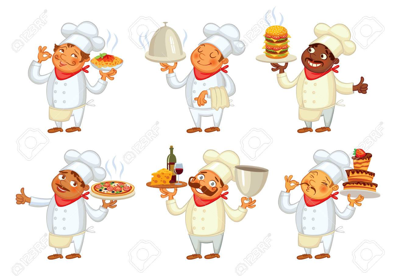 Chef serving the dish. Funny cartoon character. Vector illustration. Isolated on white background. Set - 50124888