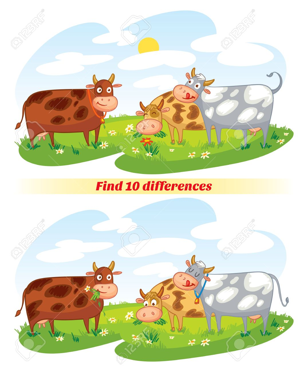 find 10 differences a herd of cows grazing in the meadow funny