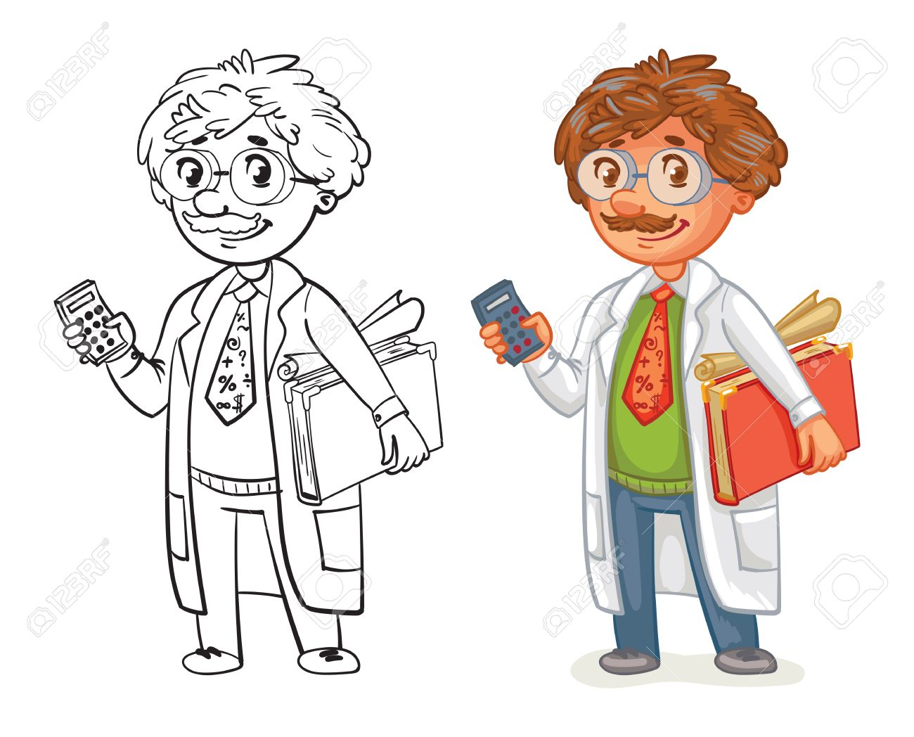 Viejo Profesor En Bata De Laboratorio. Personaje De Dibujos Animados ...