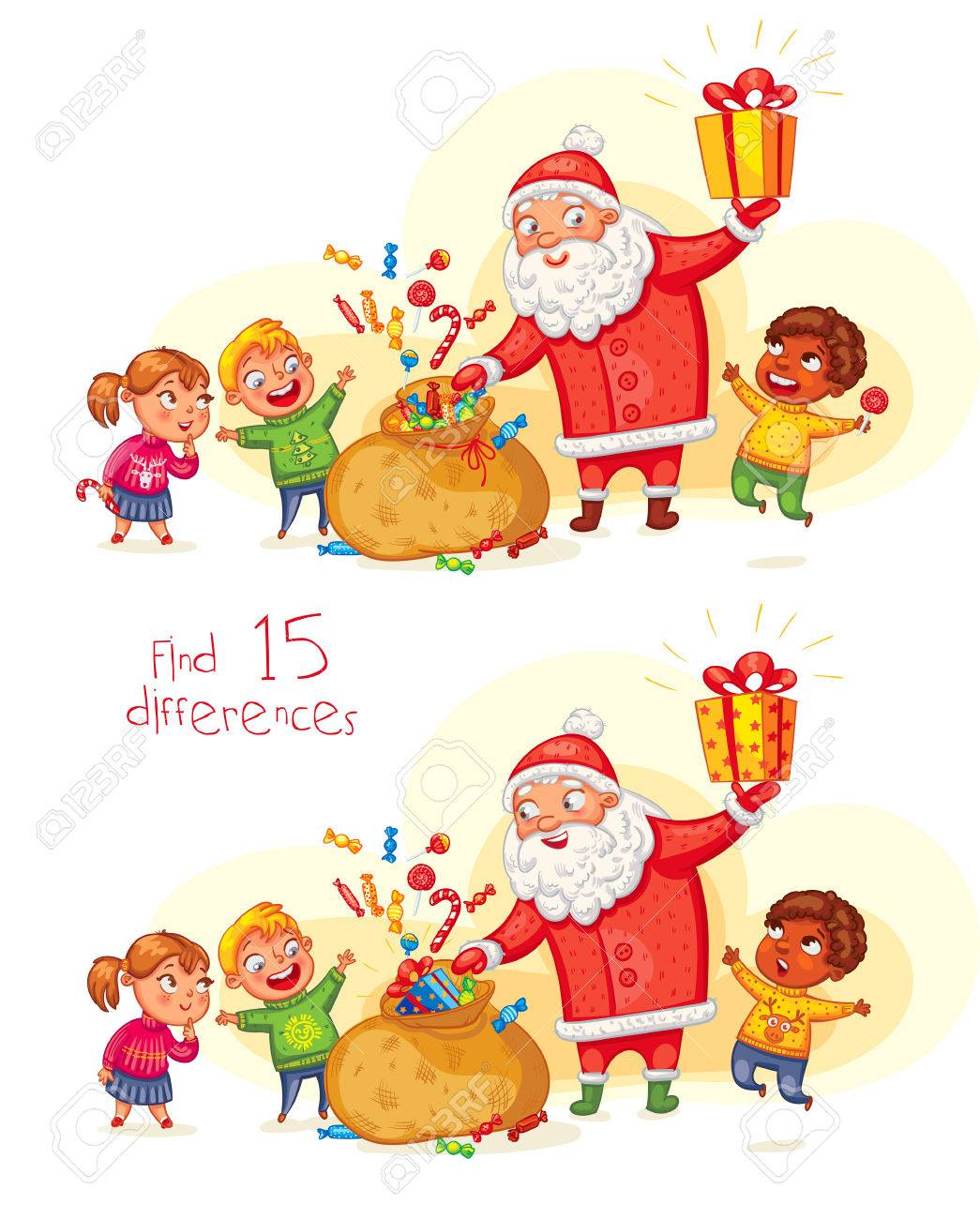 Claus Porto Nederland.Find 15 Differences Santa Claus Brings Gifts To Children Merry
