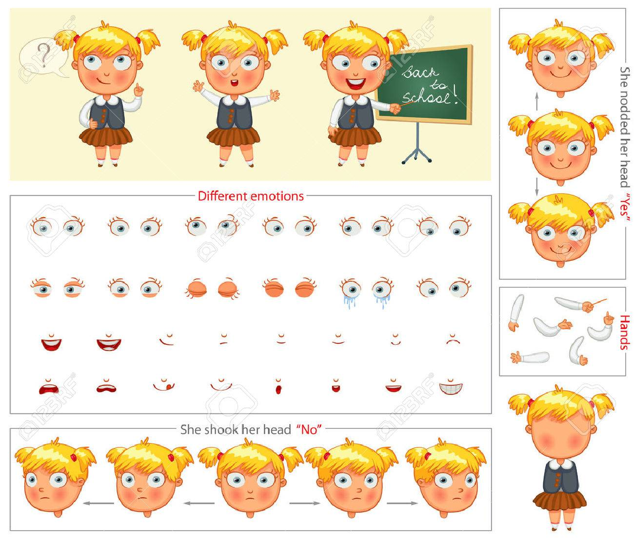 schoolgirl parts of body template for design work and animation