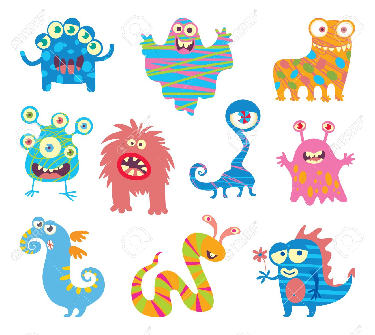 Set of funny little monsters. Funny cartoon character. Vector illustration. Isolated on white background - 50125058