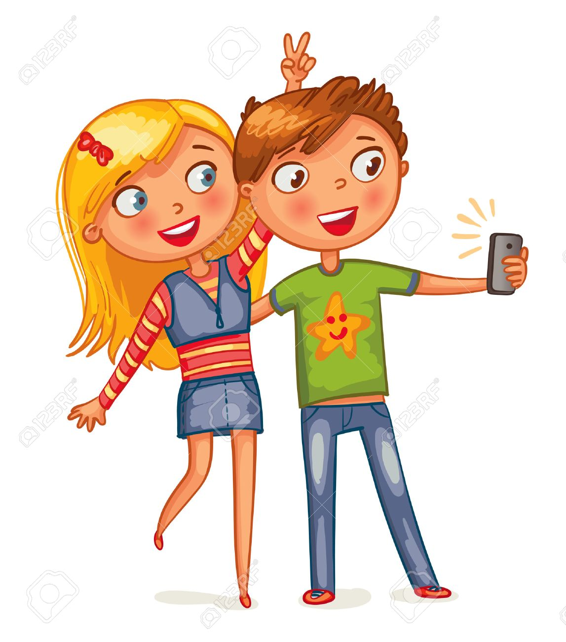 boy and girl posing together. friends making selfie. funny cartoon
