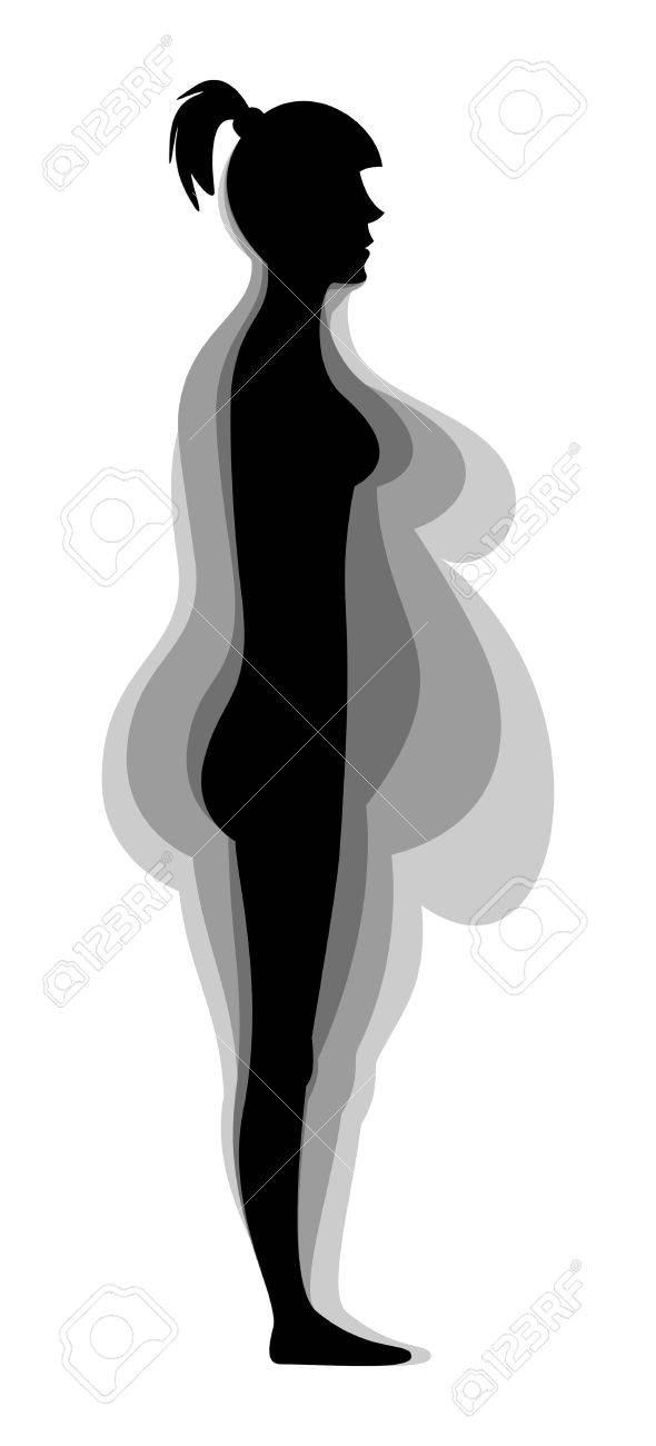 Stages weight loss female figure. Silhouette. Vector illustration. Isolated on white background - 50125157
