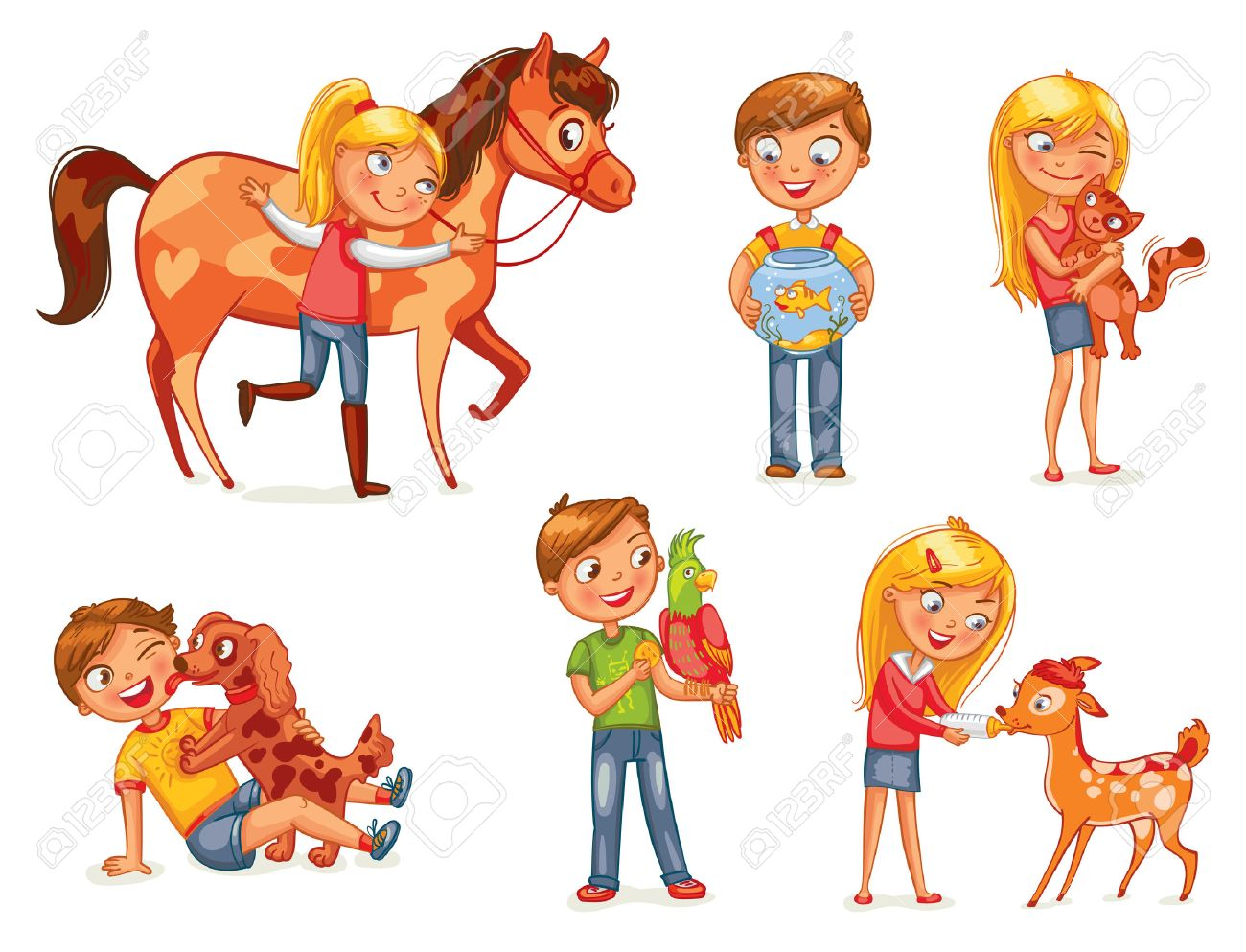 Caring for animals. Dog licking boy's face. Girl hugging a kitten. Girl fawn feeding bottle of milk. Jockey patting a horse. Funny cartoon character. Vector illustration. Isolated on white background - 50125183