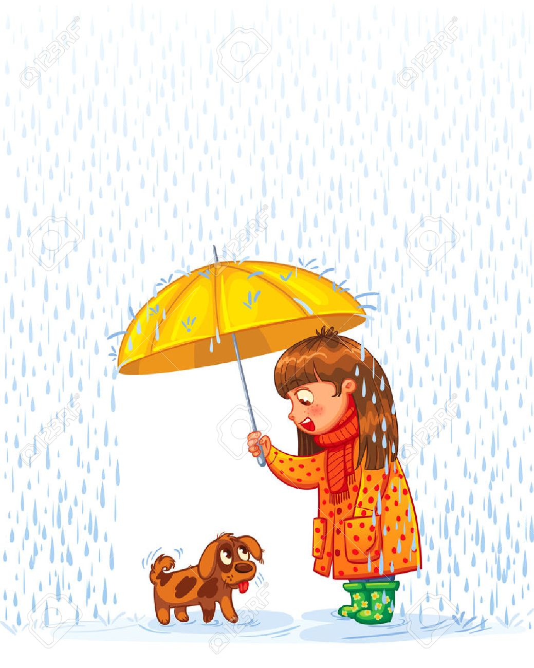The girl under an umbrella with a small homeless puppy. Protect pet from autumn rain. Funny cartoon character. Vector illustration. Isolated on white background - 50125194
