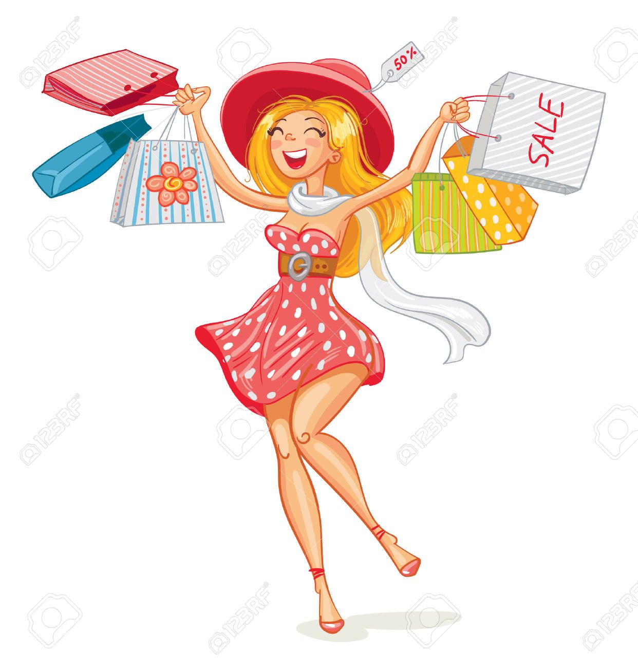6dbd9d92287 Happy girl with shopping bags in shop. Shopper. Sales. Funny..