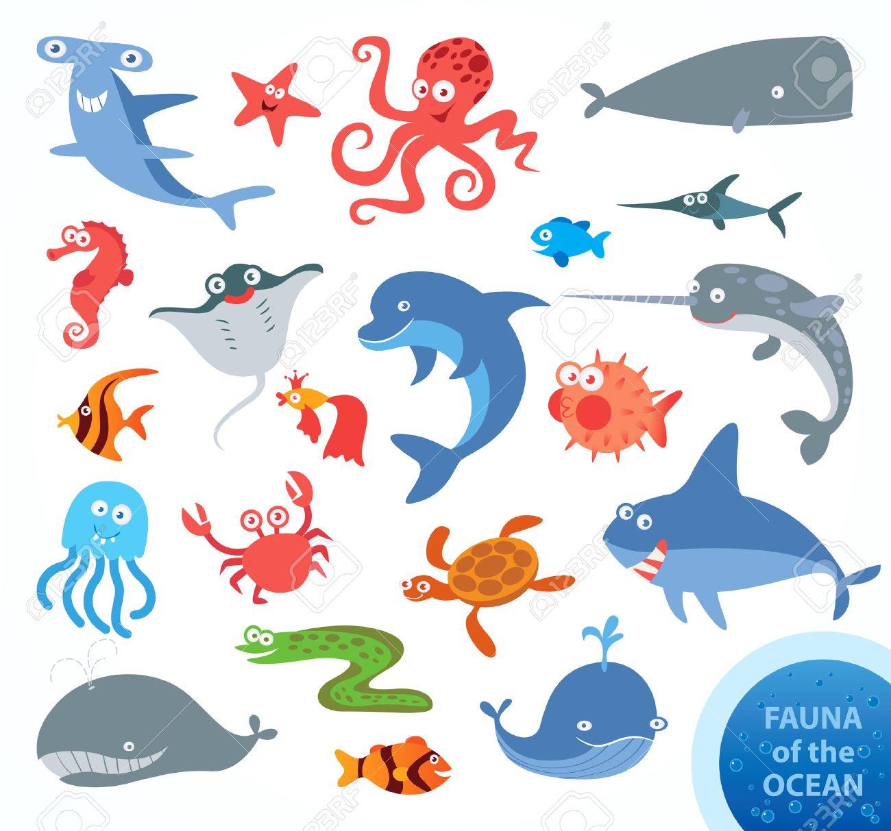 Set funny fauna of ocean. Narwhal, hammerhead shark, white shark, whale, dolphin, swordfish, turtle, jellyfish, octopus, sea horse, crab, starfish. Funny cartoon character. Vector illustration - 50125477