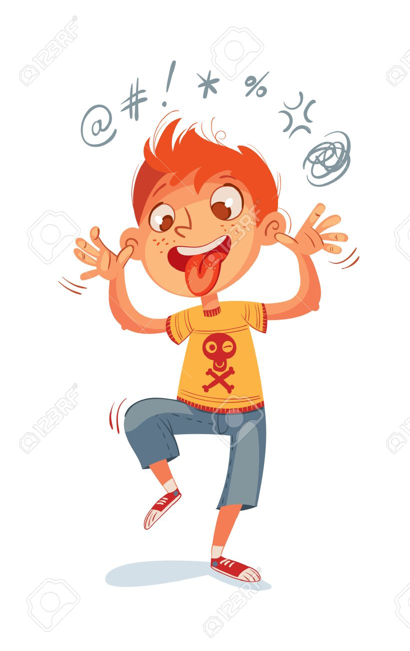 The boy swearing and grimacing for the camera. Funny cartoon character. Vector illustration. Isolated on white background - 50125366