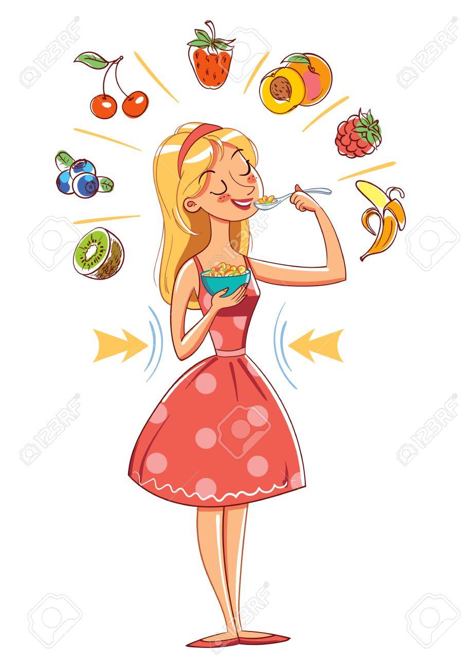 Comida Saludable Slim Chica Comiendo Cereales Pérdida De Peso