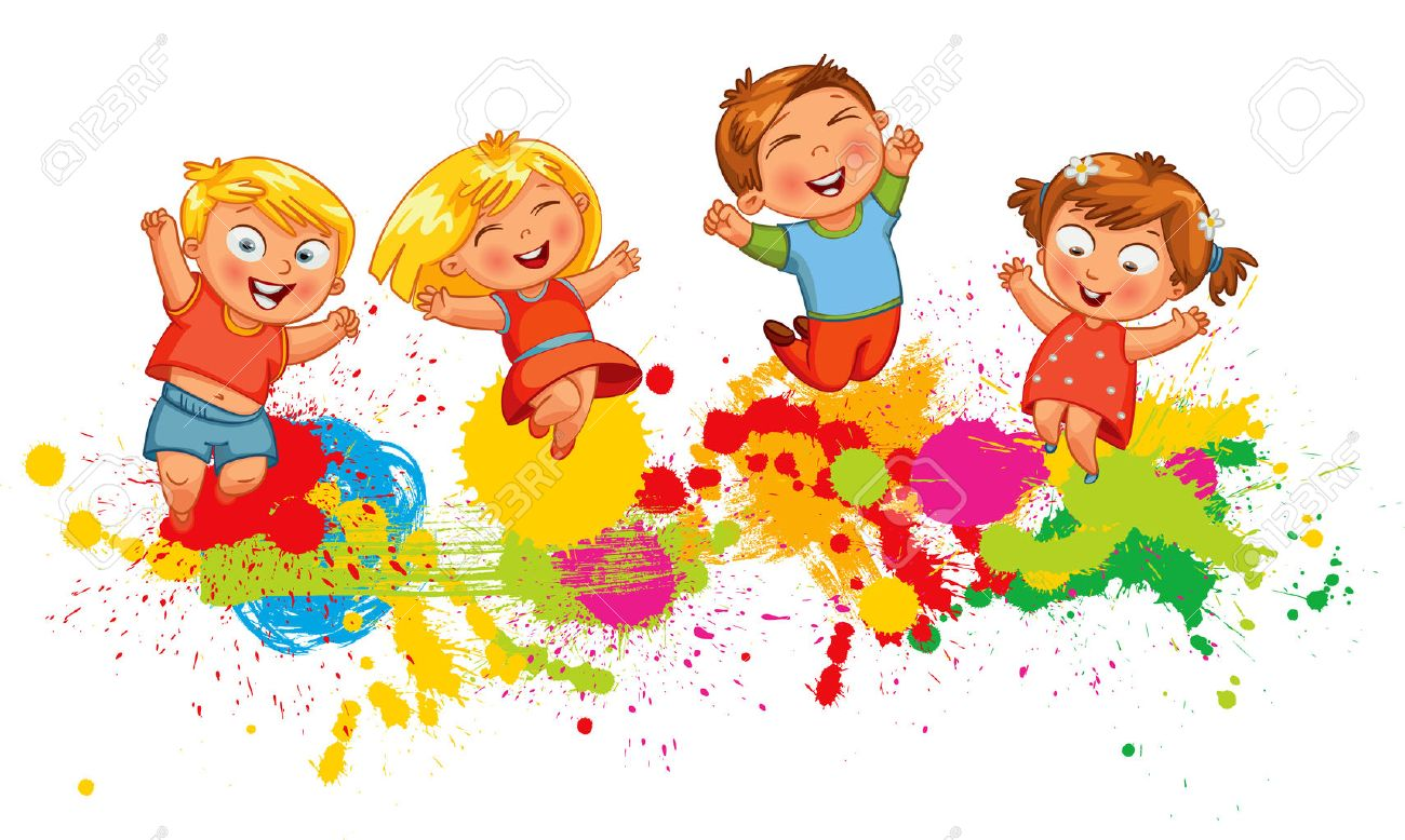 Children Jumping On The Background Color Splash. Banner. Funny ...