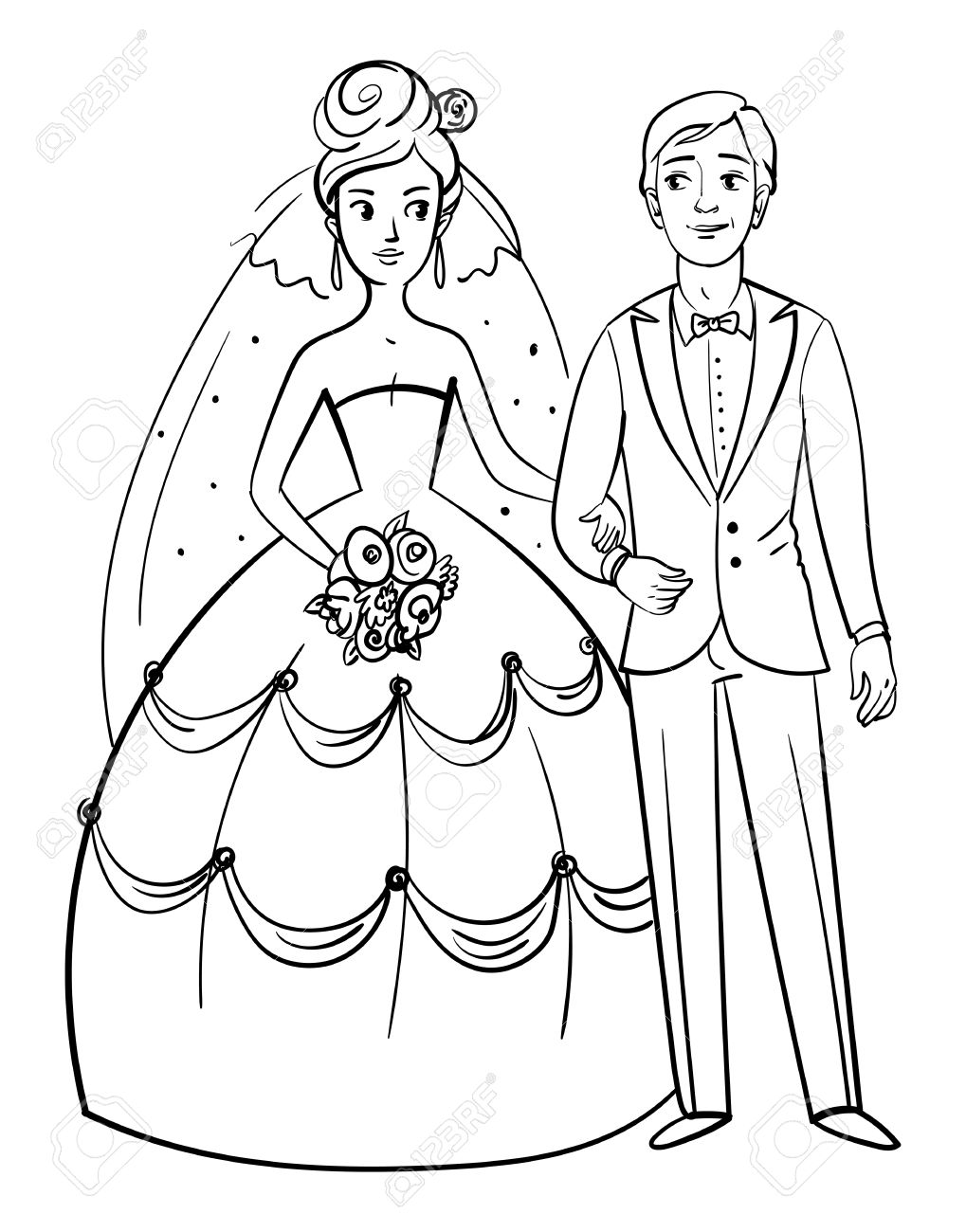 Bride And Groom Front View Funny Cartoon Character Posing