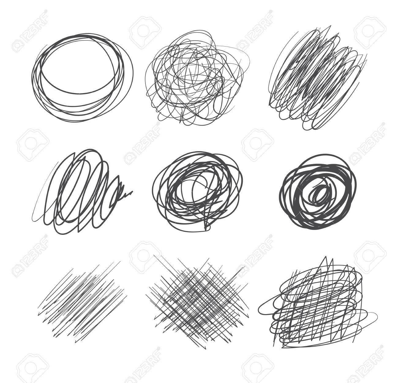 Abstract chaotic round sketch pencil drawing for your design vector illustration isolated on