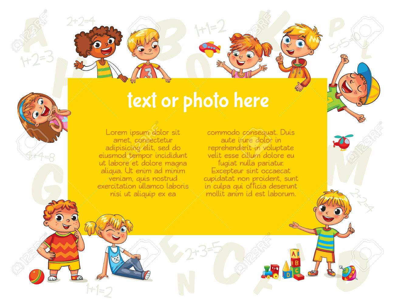 Happy children holding blank poster. Template for advertising brochure. Ready for your message. Kids look up with interest. Funny cartoon character. Vector illustration. Isolated on white background - 69019159