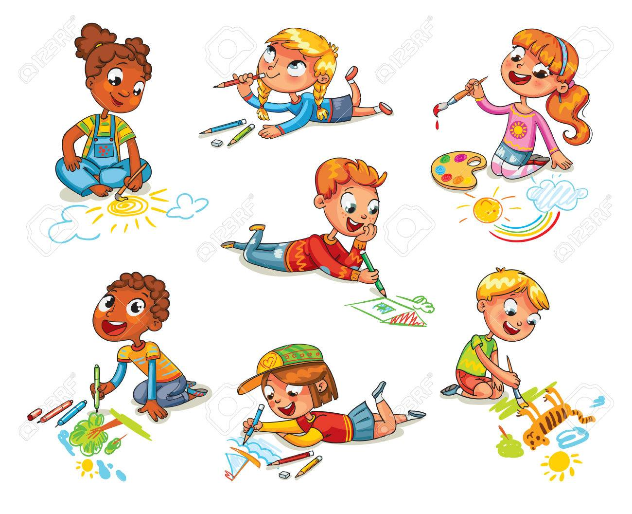 Little children draw pictures pencils and paints laying on floor. Kid lying on her stomach and making a drawing on a paper. Funny cartoon character. Vector illustration. Isolated on white background - 69019176