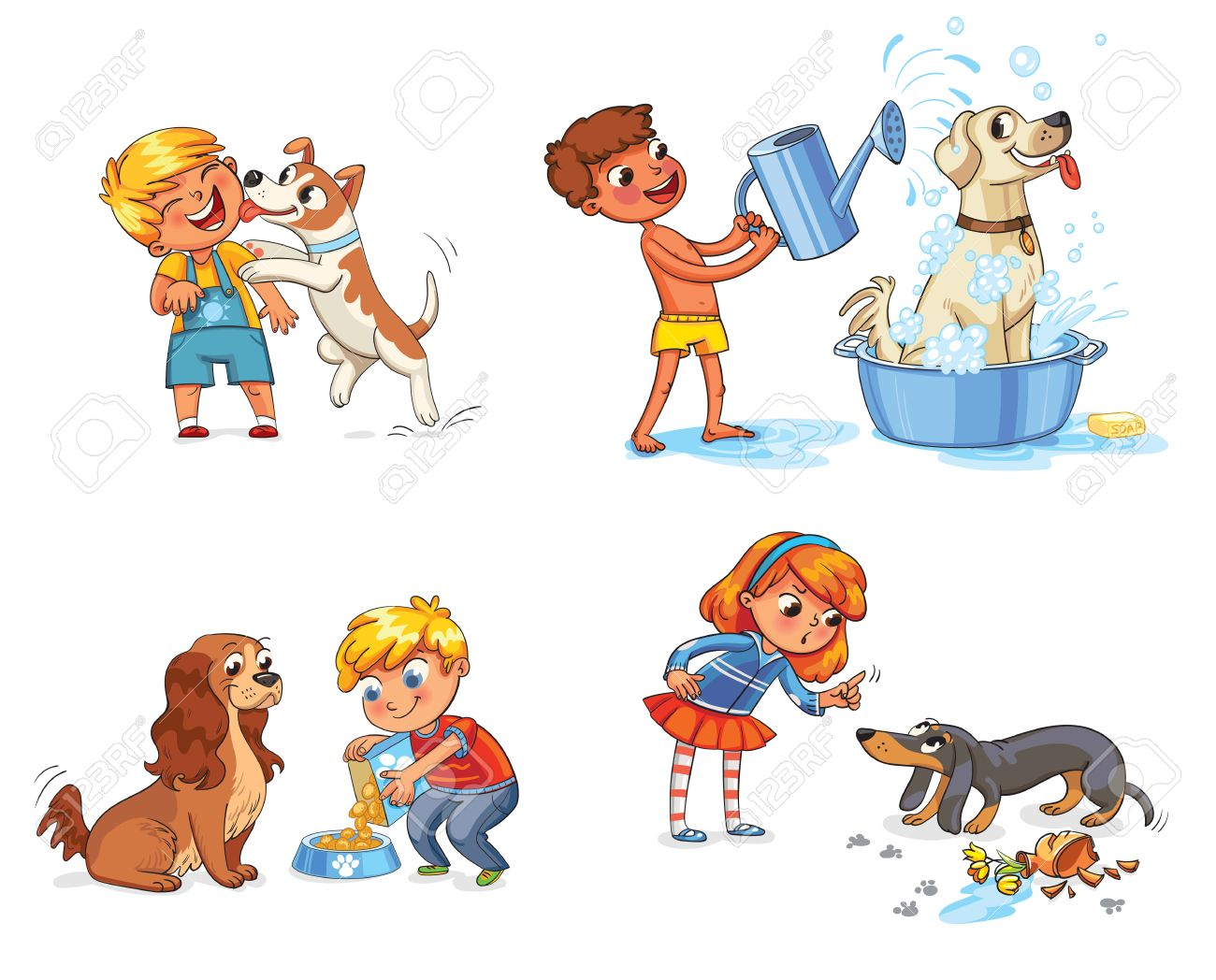 Happy boy with a dog licking her face. Labrador taking a bubble bath. Boy filling pet bowl with dry food for dog. Cocker Spaniel waiting for food. Girl scolding pet for disobedience and broken things - 69019200