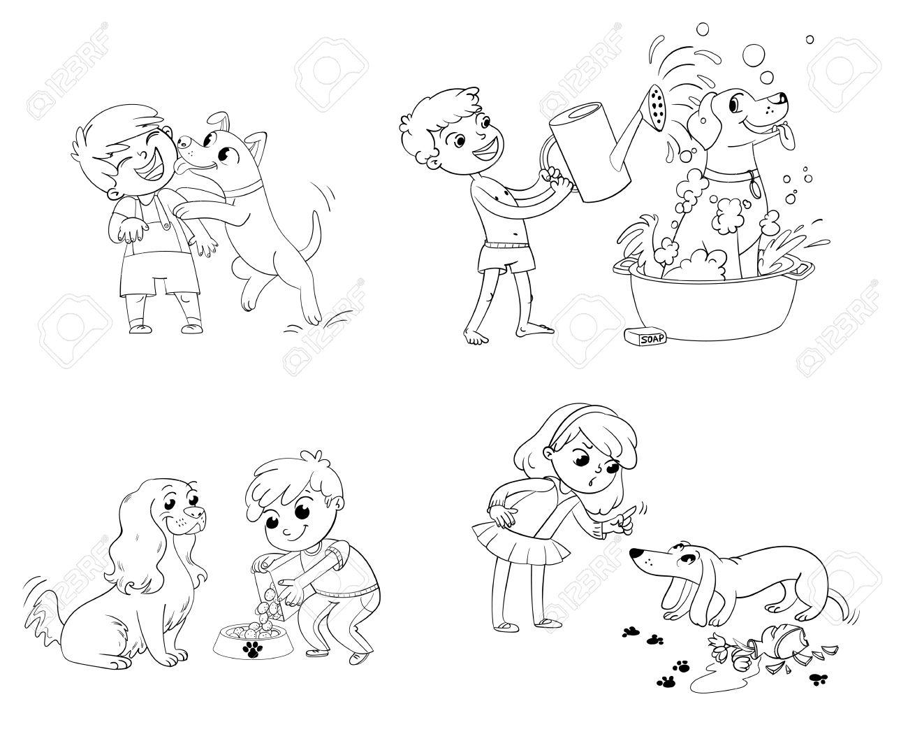 Niño Feliz Con Un Perro Que Lame La Cara. Labrador Tomando Un Baño ...